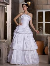 Cheap 2013 A-line Strapless Floor-length Pick-ups Wedding Dress