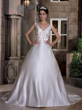 A-line V-neck Chapel Train Satin Hand Made Flower Wedding Dress