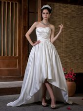 Court Train Ruched and Hand Made Flowers Sweetheart Wedding Dress