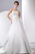 Elegant Appliques Wedding Dress Beading Court Train Satin