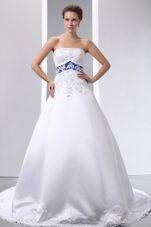 Appliques A-line Court  Train Satin  Wedding Dress 2013 Elegant