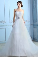 Strapless Court Train Tulle Beading A-line Wedding Dress