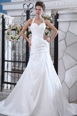 Halter Mermaid Court Train Taffeta Ruch Wedding Dress