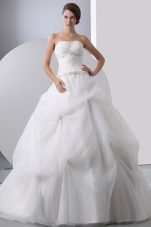 Wedding Dress A-line Strapless Chapel Train with Beading