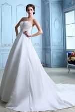 Sweetheart A-line Court Train Ruch and Beading Wedding Dress