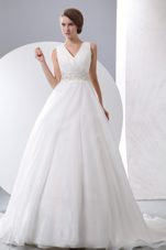 V-neck Court Train A-line Wedding Dress with Ruch and Beading