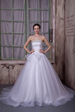 Chapel Train Simple A-line Strapless Wedding Dress with Beading