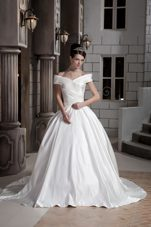 Ruched Off The Shoulder Wedding Dress Court Train Satin