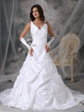 A-line V-neck Court Train Taffeta Beading Wedding Dress