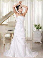 Strapless Custom Made Column Ivory Wedding Dress with Appliques