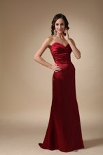 Sweetheart Brush Train Ruche Evening Pageant Dress Wine Red