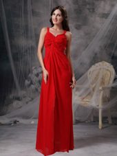 Straps Floor-length Beading and Ruche Prom Evening Dress Coral Red