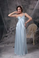One Shoulder Floor-length Beading Evening Dress Light Blue
