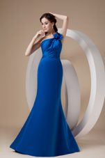 Mermaid One Shoulder Brush Train Evening Dress Royal Blue