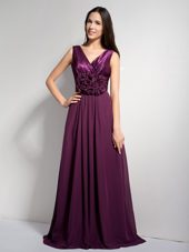 Dark Purple A-line V-neck Brush Train Prom Dress