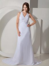 Halter Court Train White Evening Celebrity Dress with Beading