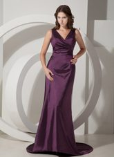 V-neck BrushSweep Purple Evening Pageant Dress