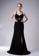 Black A-line Straps Brush Train Beading Evening Celebrity Dress