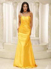 Yellow One Shoulder Ruched Pageant Dress with Appliques
