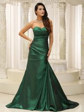 Custom Made Dark Green Ruched Evening Dress Brush Train