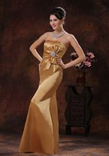 Mermaid Champagne Pageant Dress Strapless with Beading