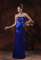 Royal Blue Mermaid Prom Dress Strapless with Beading