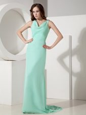 Apple Green V-neck Sweep Chiffon Bow Evening Celebrity Dress