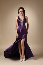 Dark Puprle V-neck Brush Train Beading Prom Evening Dress