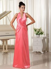 Watermelon Halter Top Evening Celebrity Dress with Ruch