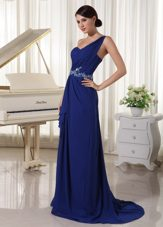 Appliques Royal Blue One Shoulder Evening Pageant Dress