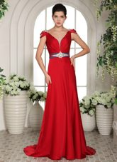 2013 V-neck Cap Sleeves Red Beading and Ruche Evening Dress