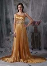 Gold Asymmetrical Brush Train Beading Evening Pageant Dress