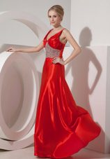 Red A-line V-neck Brush Train Beading Evening Dress