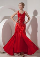 Red Straps Floor-length Beading Evening Pageant Dress
