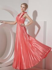 Watermelon Red Halter Floor-length Beading Evening Dress