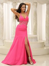 Coral Red Halter Beading High Slit Prom Evening Dress