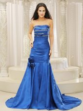 Mermaid Royal Blue Court Train Evening Pageant Dress