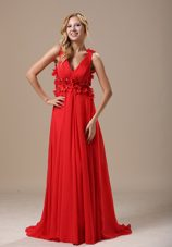 Hand Made Flowers Beading Ruche V-neck Red Brush Train Prom Dress