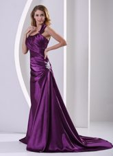 Eggplant Purple One Shoulder Brush Train Evening Pageant Dress