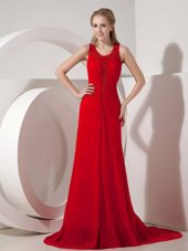 Red Column Scoop Brush Train Chiffon Evening Pageant Dress