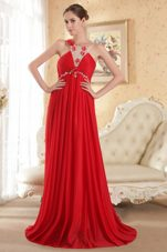 Empire Court Train Beading Red Prom Evening Dress
