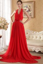 Column Halter Chiffon Ruche Prom Evening Dress Red