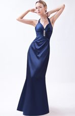 Navy Blue Column Halter Beading Prom Dress