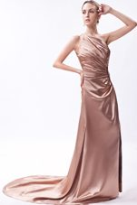 Column Court Train Beading Prom Dress One Shoulder