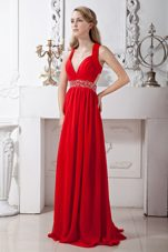 Red Empire Chiffon Beading Prom Evening Dress Brush Train