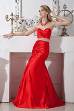 Mermaid Beading Red Evening Celebrity Dress Sweetheart