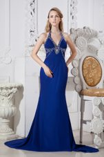 Sexy Blue Beading Brush Train Column Evening Dress