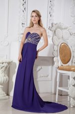 Purple Column Beading Sweetheart Prom Celebrity Dress