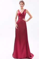 V-neck Brush Ruche Red Evening Pageant Dress Column