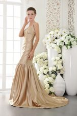 Straps Champagne Mermaid Beading Evening Pageant Dress